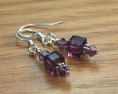 Beloved -Sterling Silver Plated Amethyst Swarovski Crystal Cubed Earrings