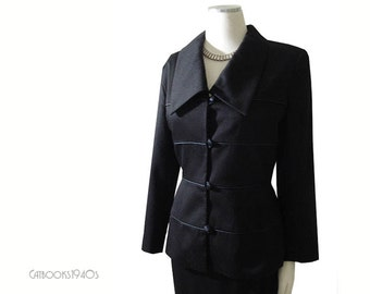 Black Cashmere Blend Vintage ESTEVEZ Suit M