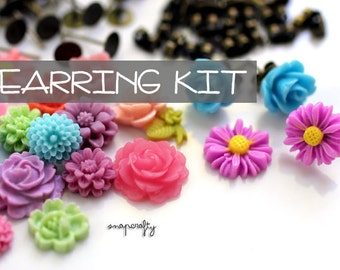 DIY EARRING KIT: make 20 pairs pastel garden flower stud cab earrings! / cute resin flower cabochons + findings / parties, craft nights