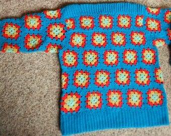 VINTAGE CROCHET SWEATER, hand made, bright retro turquoise, yarn craft, jumper, winter wear