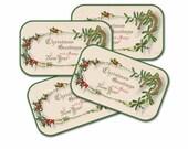 Christmas Greetings Tag, Vintage Horseshoe Calling Card, Circa 1900 Christmas, Set of Four, 4 Tags