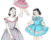 1950s Girls Dress Pattern Advance 7898 Yoked Full Skirt Puff Sleeve Back Button Lace Dress Girls Vintage Sewing Pattern Breast 23