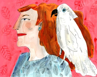 lady and bird, drawing on paper