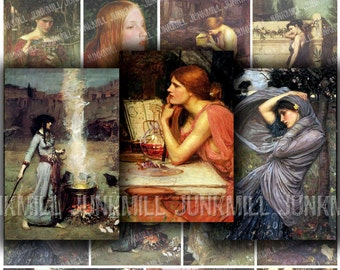 LEGENDS - Digital Printable Collage Sheet - Renaissance Fantasy, Medieval Myth, Pre-Raphaelite Paintings, Alchemy, Goddess, Instant Download