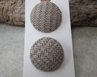 2 Large Light Brown Herringbone Tweed Fabric Buttons