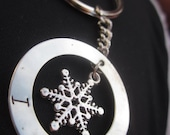 I Love Snow Key chain stainless steel disc Snowflake charm ski skier winter lover Hand stamped