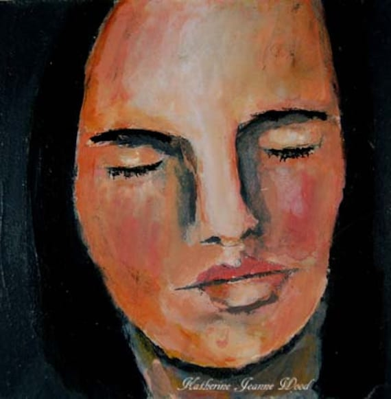 Woman With Eyes Closed Painting images