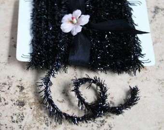 Jet Black Eyelash Tinsel Twine Trim - 12 Feet Halloween Mini Garland - Gift Wrap Packaging Trim - Vintage Halloween Craft Supplies