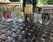 Set of 6 monogram stemless wine glass 17 oz.