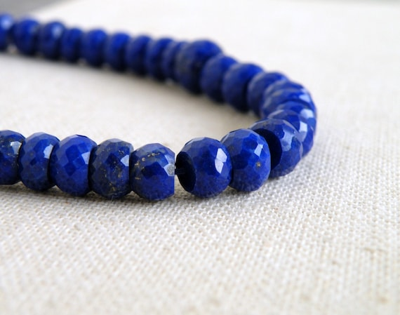 Lapis Lazuli Gemstone Rondelle Royal Blue Faceted Drilled Beads 5.5mm 18 beads