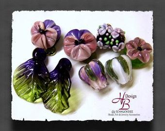 9 Pansy Flowers, Bead set, lampwork, Beads, Flowers, SRA