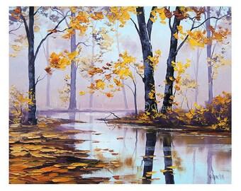AUTUMN TREES PAINTING Autumn Painting Yellow art Decor River landscape Graham gercken
