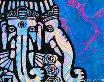 """Ganesh Ebru 8.5""""x11"""" Giclee Print"""
