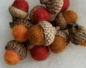 Wool Felted Acorns Wool Roving Russet Color Rust Toffee and Orange Rustic Home Decor