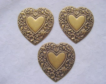 3 Ornate Vintage Hearts  Metal Stampings Antique Gold Brass 45 x 49mm