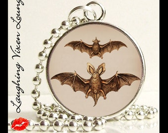 Vampire Jewelry - Bat Necklace - Vintage Bat Style-K Small Pendant - Square Or Round - Bat Jewelry - Gothic Necklace - Vampire