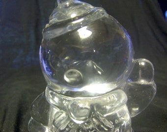 Snowman Paperweight Figurine Clear Glass Bubbly Belly