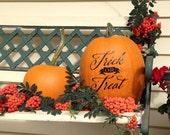 Halloween Pumpkin Decal - Trick or Treat - vinyl wall decal