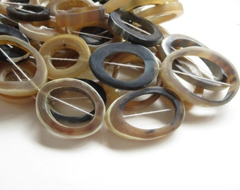 Large Horn beads, beige grey and black horn bead, freeform donut Bead frames,  organic statement rustic beads  - 4 beads - 5bb17