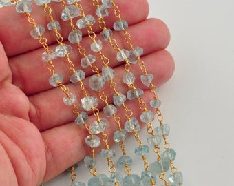 5mm-7mm 18k Gold Vermeil Aquamarine nuggets Chain 17 INCH