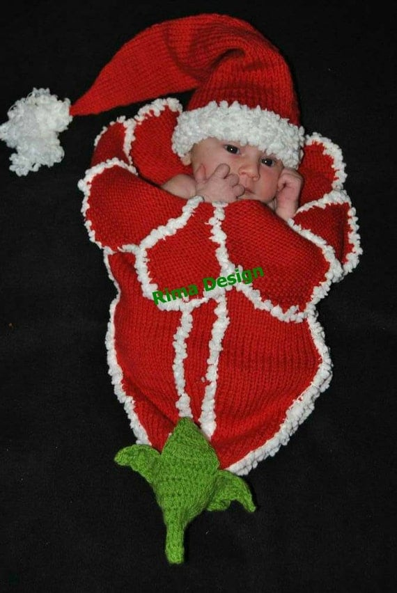 Christmas Baby Cocoon Crochet Pattern : Original design Baby girl boy Any occasion Amaryllis Lily ...