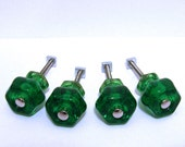 "Antique 1 1/4"" Style Emerald Green Depression Glass Knobs Lot of 4"