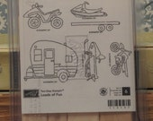 Stampin Up Loads of Fun Stamps in Package, Camper, 4 Wheeler, Wave Runner / Jet Ski, Trailer, Snowmobile, Motorcycle / Dirtbike