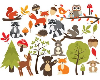 Woodland clipart - forest clip art, cute, whimsical, critters, forest animals, fox, raccoon, deer, bear, squirrel, leaf, leaves, acorns