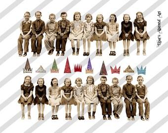 Digital Collage Sheet Group of Children Images  (Sheet no. O188) instant Download