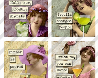 Digital Collage Sheet 1.5 X 1.5 inch Cocktail drinking Ladies (Sheet no. FS216) Instant Download