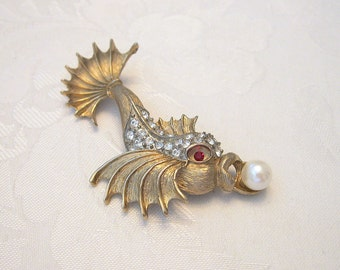 Vintage Koi Brooch Rhinestone Crystal Faux Pearl Goldtone