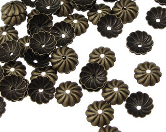 72 Brass Beadcaps 7mm Antique Brass Bead Caps - Pleated Dome Aged Solid Brass Caps - Vintage Style Bronze Metal Beads  (FSAB69)