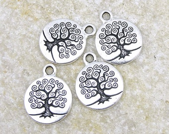 100 TierraCast Tree of Life Charms - 15mm Antique Silver Tree Drop - Silver Charms (P783)