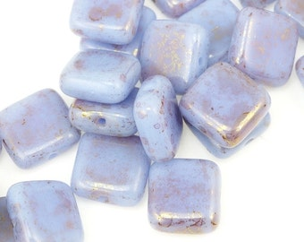 25 Periwinkle Beads - Light Radiant Orchid Beads - 9mm x 9mm Flat Pillow Beads Czech Glass Square Beads - Lavender Light Purple