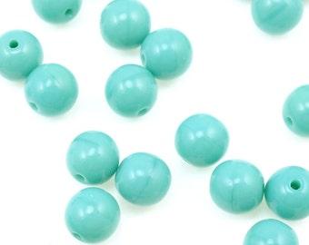 50 OPAQUE TURQUOISE BLUE 6mm Beads Czech Glass Beads - Light Turquoise Blue Beads Sky Blue Aqua - 6mm Round Pressed Glass Druks