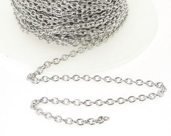 Delicate Bright Rhodium Chain - TierraCast 2mm x 3mm Fine Link Cable Chain - Loose Silver Chain for Jewelry and Necklaces 20-0725-63