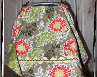 Sale 20% Off! Car Seat Canopy-Thyme Party Dress Carseat Canopy- Ready to Ship