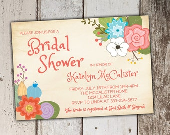 Bridal Shower Invitations - Chic Blossoms - print yourself