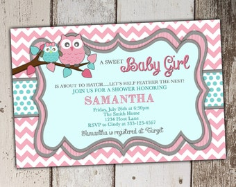 Owl Baby Shower Invitation - Pink and Teal - Baby Shower - Cute Owls
