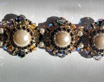 Smokey Gold Swarovski and Pearl Bracelet