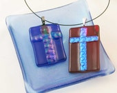 Large Cross necklace - Blue or Red fused glass CROSS pendant - dichroic fused glass jewelry - OOAK  - (3594-95)