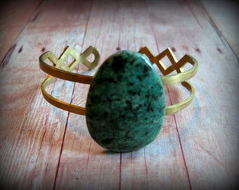 AFRICAN TURQUOISE SOLO - Handmade raw brass cuff with African Turquoise Stone Slab cuff Boho Lux Boho Style Gift Idea Christmas Gift