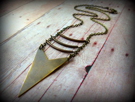 ARROW ARMOUR - Hand cut natural brass arrow&natural brass chain necklace Boho ChicTribal Alternative Edgy Stocking Stuffer
