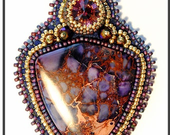 Deliciouse. Bead Embroidery Pendant. BEADED TUTORIAL.