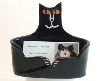 ceramic lucky black cat business card holder: pottery kitty Made to Order ceramic office feline pet resort vetinary groomer decor