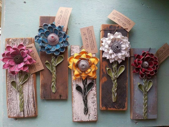 Recycled flower wall tile by rezipit on etsy for Recycled crafts to sell