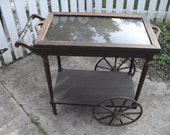 REDUCED Authentic Antique Victorian 1900's tea Cart With 4 wooden Wheels,  Removable Glass Serving tray