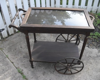 REDUCED Authentic Antique Victorian 1900u0027s Tea Cart With 4 Wooden Wheels,  Removable Glass Serving Tray