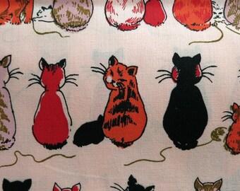 Hand Printed Fabric - Cheeky Cats  Sunset - Half Yard