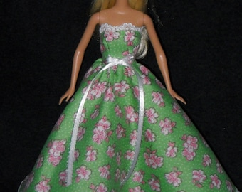 Barbie Doll Dress Handmade Gown Green with Pink Flowers